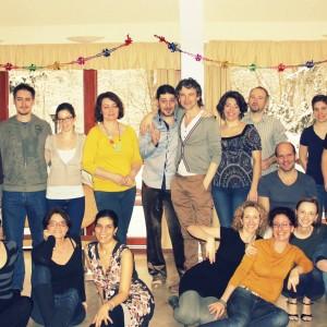 A Kontakt Impro tánciskola téli táborában, melynek része volt a zeneiség workshop is.